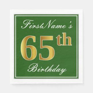 Elegant Green, Faux Gold 65th Birthday + Name Disposable Serviettes