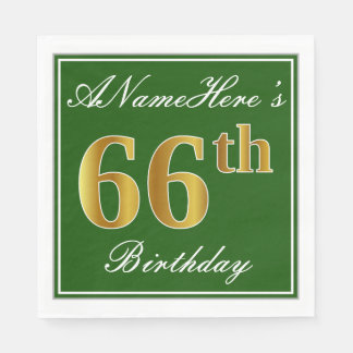 Elegant Green, Faux Gold 66th Birthday + Name Disposable Serviettes