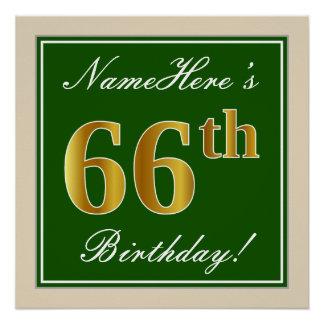 Elegant, Green, Faux Gold 66th Birthday + Name Poster