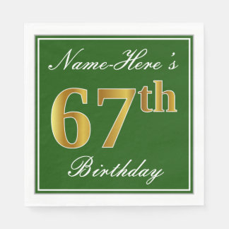 Elegant Green, Faux Gold 67th Birthday + Name Paper Napkin