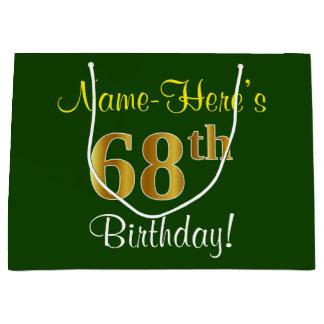 Elegant, Green, Faux Gold 68th Birthday + Name Large Gift Bag