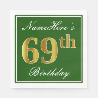 Elegant Green, Faux Gold 69th Birthday + Name Paper Napkins