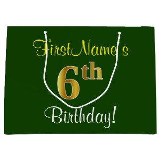 Elegant, Green, Faux Gold 6th Birthday + Name Large Gift Bag