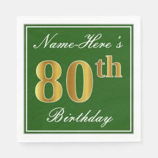 Elegant Green, Faux Gold 80th Birthday + Name Disposable Serviette