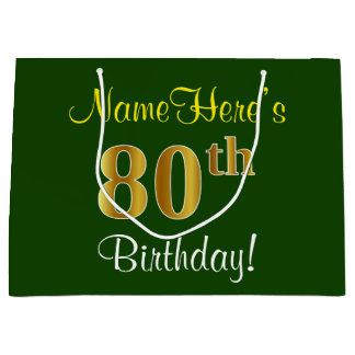 Elegant, Green, Faux Gold 80th Birthday + Name Large Gift Bag
