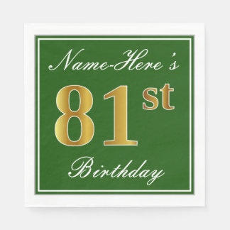 Elegant Green, Faux Gold 81st Birthday + Name Disposable Napkin