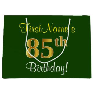 Elegant, Green, Faux Gold 85th Birthday + Name Large Gift Bag