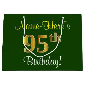 Elegant, Green, Faux Gold 95th Birthday + Name Large Gift Bag