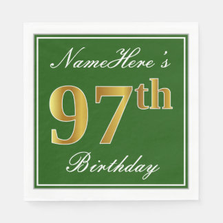 Elegant Green, Faux Gold 97th Birthday + Name Disposable Serviettes