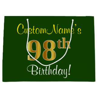 Elegant, Green, Faux Gold 98th Birthday + Name Large Gift Bag