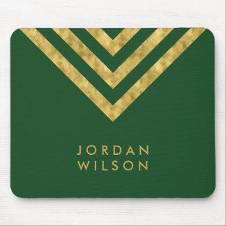 Elegant Green Faux Gold Name Chevron Geometric Mouse Pad