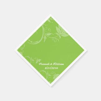 Elegant Green Floral Custom Wedding Napkin Disposable Napkin