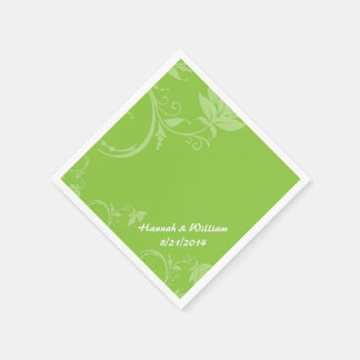 Elegant Green Floral Custom Wedding Napkin Disposable Serviettes