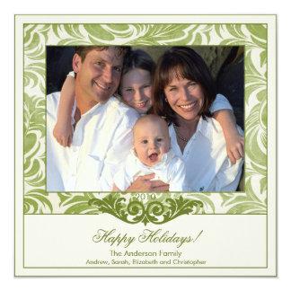 Elegant Green Flourish Christmas Photo Card