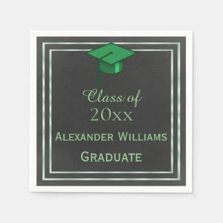 Elegant Green Framed Graduation Paper Serviettes