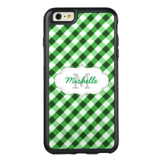 Elegant Green Gingham Pattern Personalized Name OtterBox iPhone 6/6s Plus Case