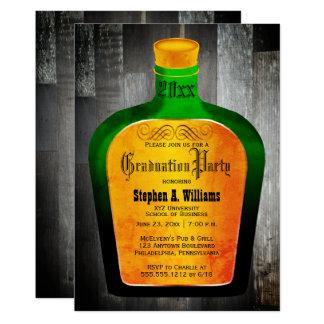Elegant Green   Gold Bar Bottle College Graduation Card