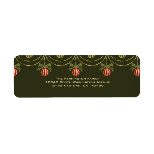 Elegant green gold christmas holiday address label