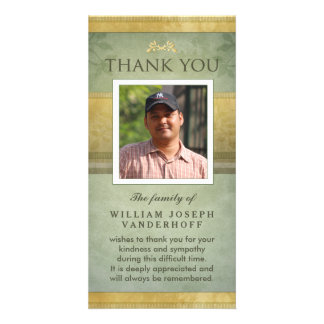 Elegant Green & Gold Memorial Thank You Card Picture Card