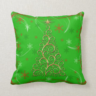 Elegant Green Gold Swirls Christmas Holiday Pillow