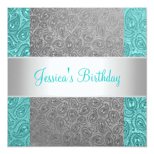 Elegant Green Grey Paisley White Birthday Party Card