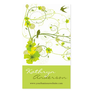 Elegant Green Hibiscus Floral Swirl Swallows Birds Business Card Templates
