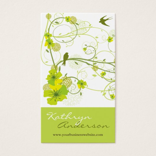 Elegant Green Hibiscus Floral Swirl Swallows Birds Business Card