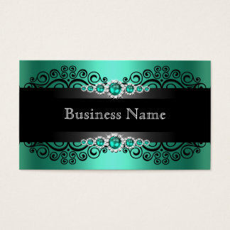 Elegant Green Jade Black Pearl Business Card