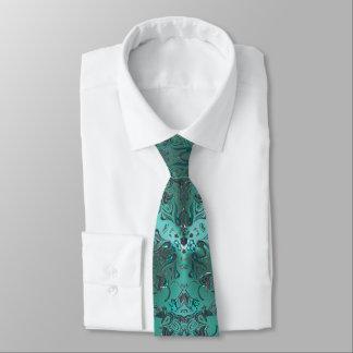Elegant Green Jeweled Look Mandala Tie