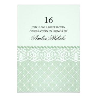 "Elegant Green Lace & pearl   Sweet 16 Invite 5"" X 7"" Invitation Card"