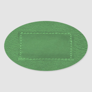 Elegant Green : Leather Look Artistic Gifts Oval Stickers
