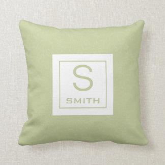 Elegant green monogram throw pillow or cushion