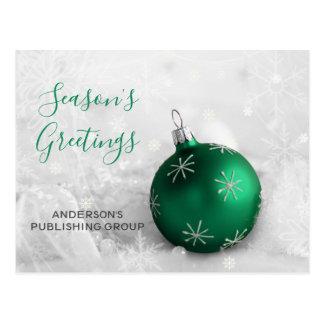 Elegant Green Ornament Festive Company Holiday Postcard