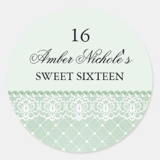 Elegant Green Pearl & Lace | Sweet 16 Sticker