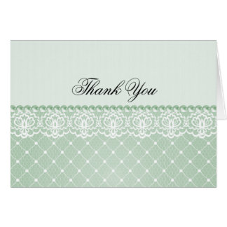 Elegant Green Pearl & Lace | Thank You Card