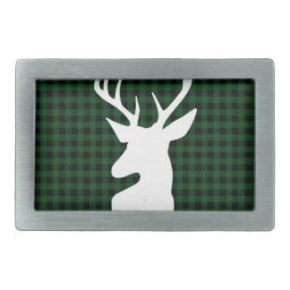 Elegant Green Plaid Deer Design Belt Buckles
