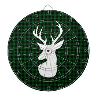 Elegant Green Plaid Deer Design Dartboard
