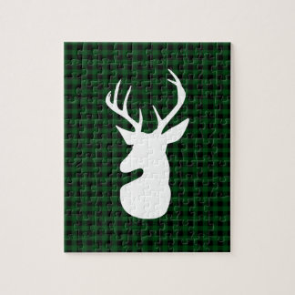 Elegant Green Plaid Deer Design Jigsaw Puzzle
