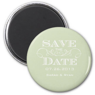 Elegant Green Save the Date Magnet
