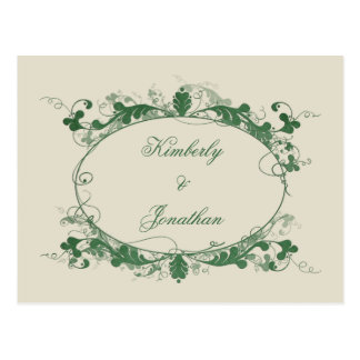 Elegant Green Scroll Frame Save The Date Post Cards