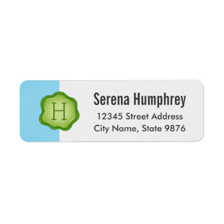 Elegant Green Stamp Monogram on Aqua Blue Return Address Label