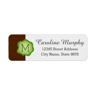 Elegant Green Stamp Monogram on Chocolate Brown Return Address Label