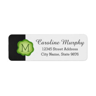 Elegant Green Stamp Monogram on Coal Black Return Address Label