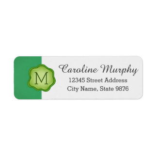 Elegant Green Stamp Monogram on Emerald Green Return Address Label