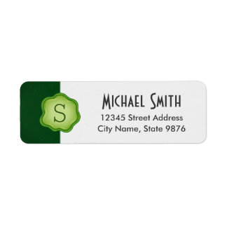 Elegant Green Stamp Monogram on Forest Green Return Address Label