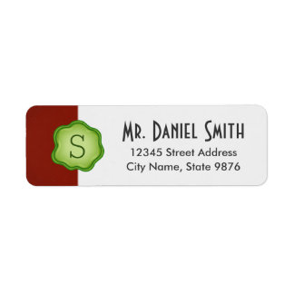 Elegant Green Stamp Monogram on Garnet Red Return Address Label