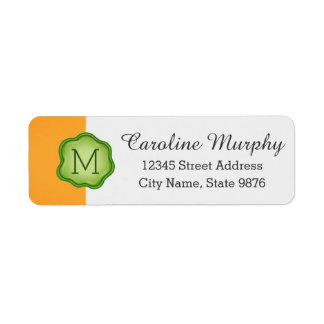 Elegant Green Stamp Monogram on Gold Return Address Label