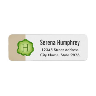 Elegant Green Stamp Monogram on Ivory Return Address Label