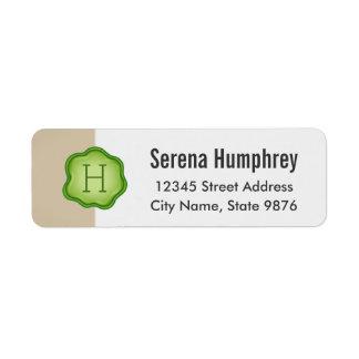 Elegant Green Stamp Monogram on Ivory Return Address Label