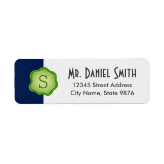 Elegant Green Stamp Monogram on Navy Blue Return Address Label